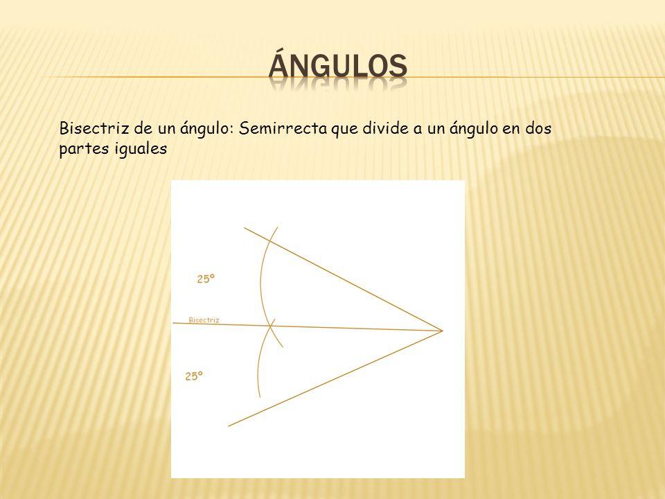 ÁNGULOS Bisectriz de un ángulo: Semirrecta que divide a un ángulo en dos partes iguales