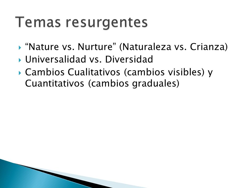 Temas resurgentes Nature vs. Nurture (Naturaleza vs. Crianza)
