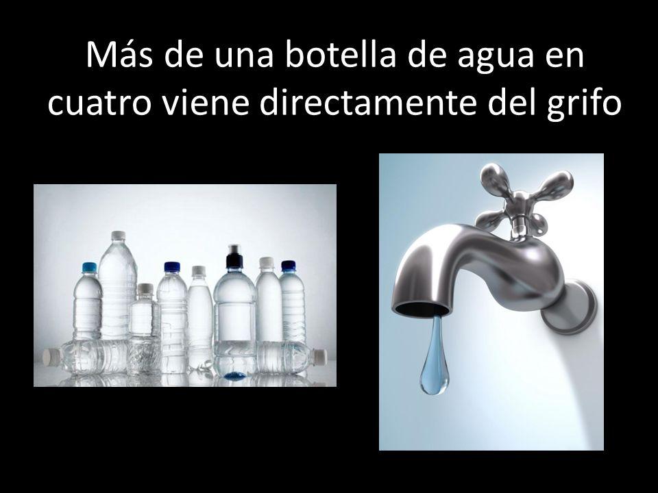 Más de una botella de agua en cuatro viene directamente del grifo