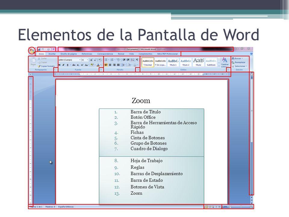 Elementos de la Pantalla de Word