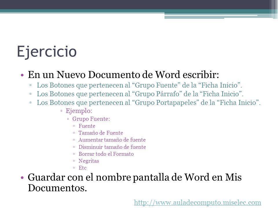 Ejercicio En un Nuevo Documento de Word escribir: