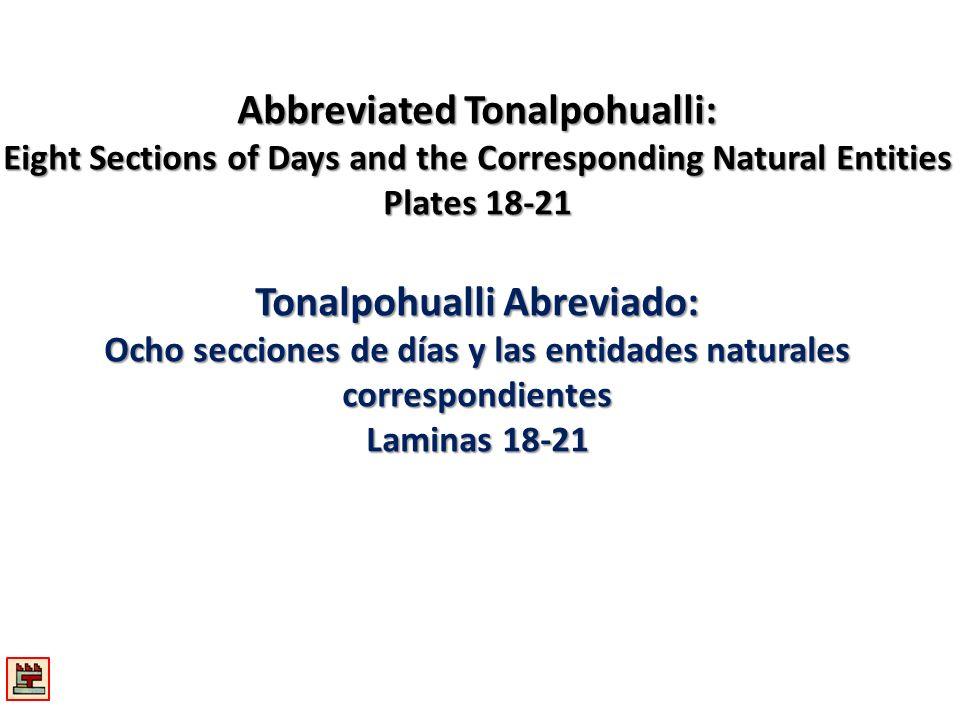 Abbreviated Tonalpohualli: Tonalpohualli Abreviado: