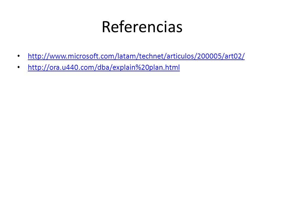 Referencias http://www.microsoft.com/latam/technet/articulos/200005/art02/ http://ora.u440.com/dba/explain%20plan.html.