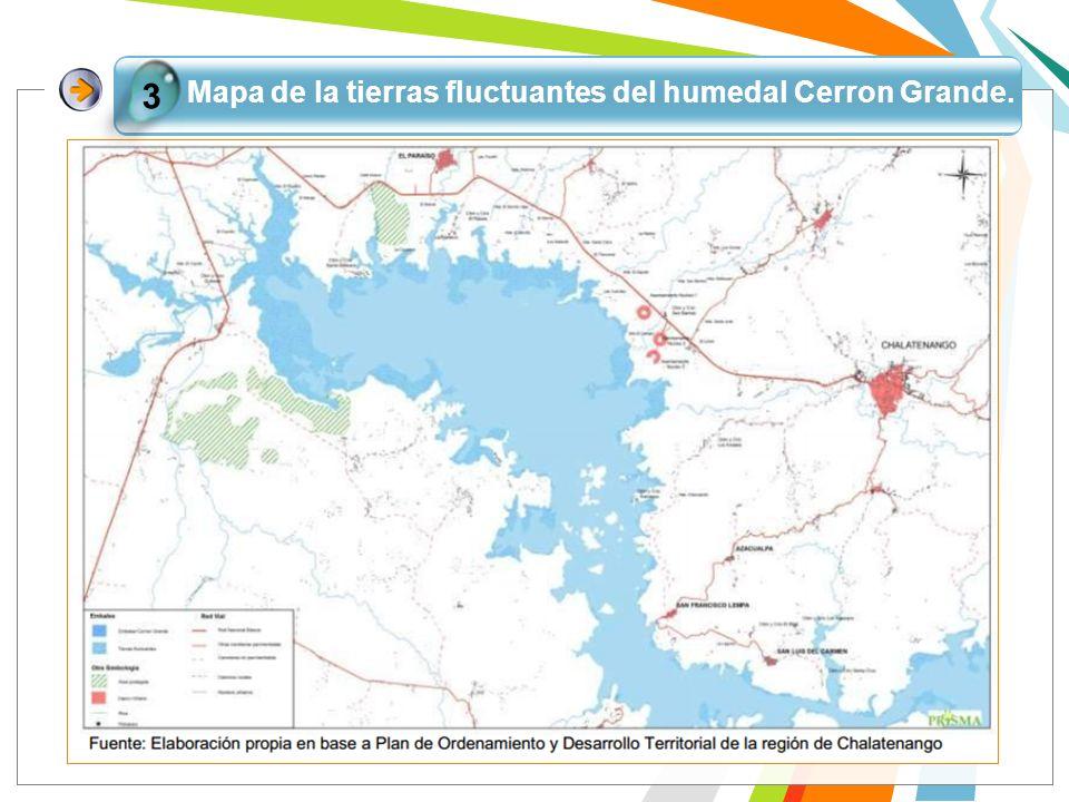 Mapa de la tierras fluctuantes del humedal Cerron Grande.