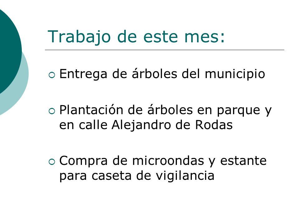 Trabajo de este mes: Entrega de árboles del municipio