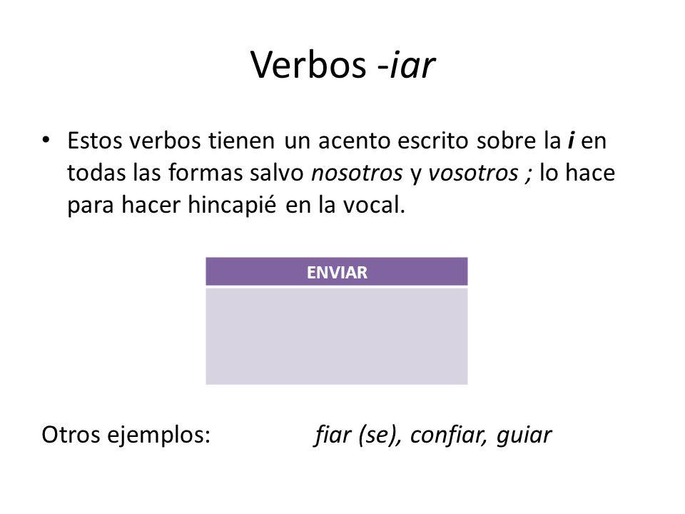 Verbos -iar Estos verbos tienen un acento escrito sobre la i en todas las formas salvo nosotros y vosotros ; lo hace para hacer hincapié en la vocal.