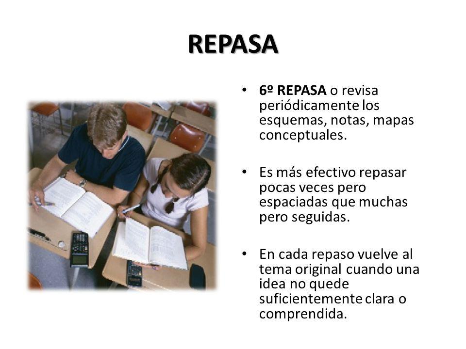 REPASA 6º REPASA o revisa periódicamente los esquemas, notas, mapas conceptuales.