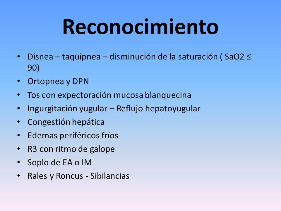 Reconocimiento Disnea – taquipnea – disminución de la saturación ( SaO2 ≤ 90) Ortopnea y DPN. Tos con expectoración mucosa blanquecina.
