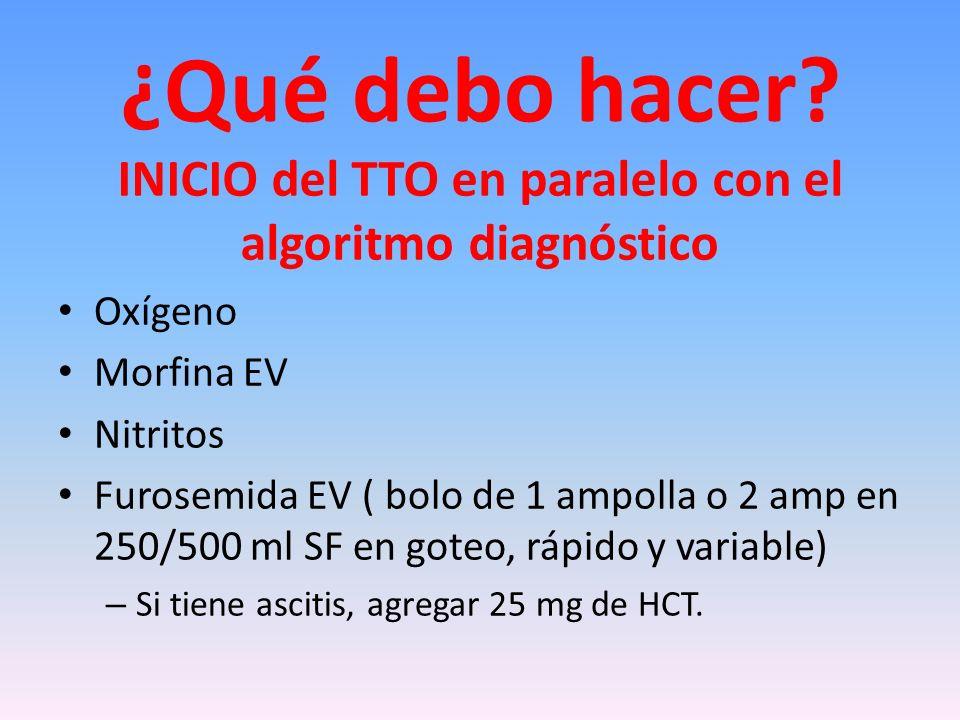 INICIO del TTO en paralelo con el algoritmo diagnóstico