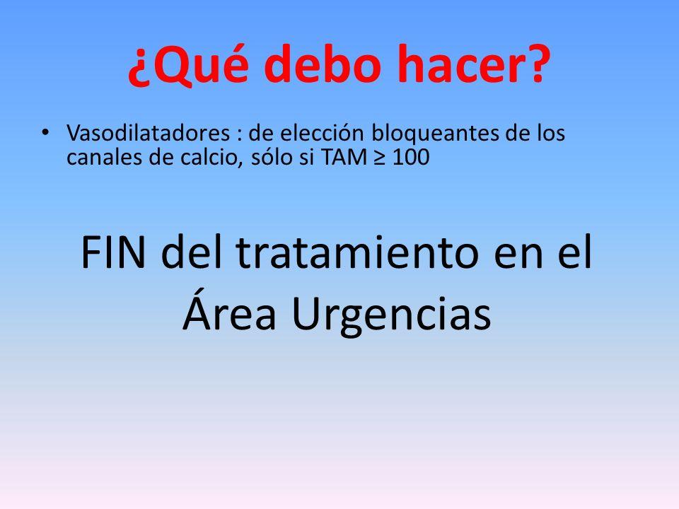 FIN del tratamiento en el Área Urgencias