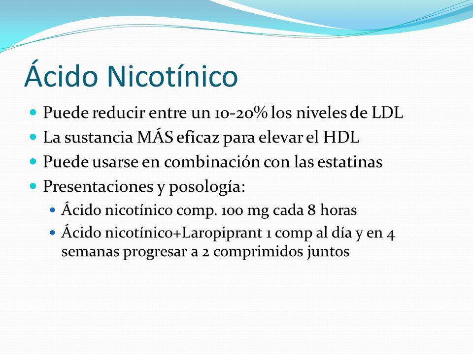 Ácido Nicotínico Puede reducir entre un 10-20% los niveles de LDL