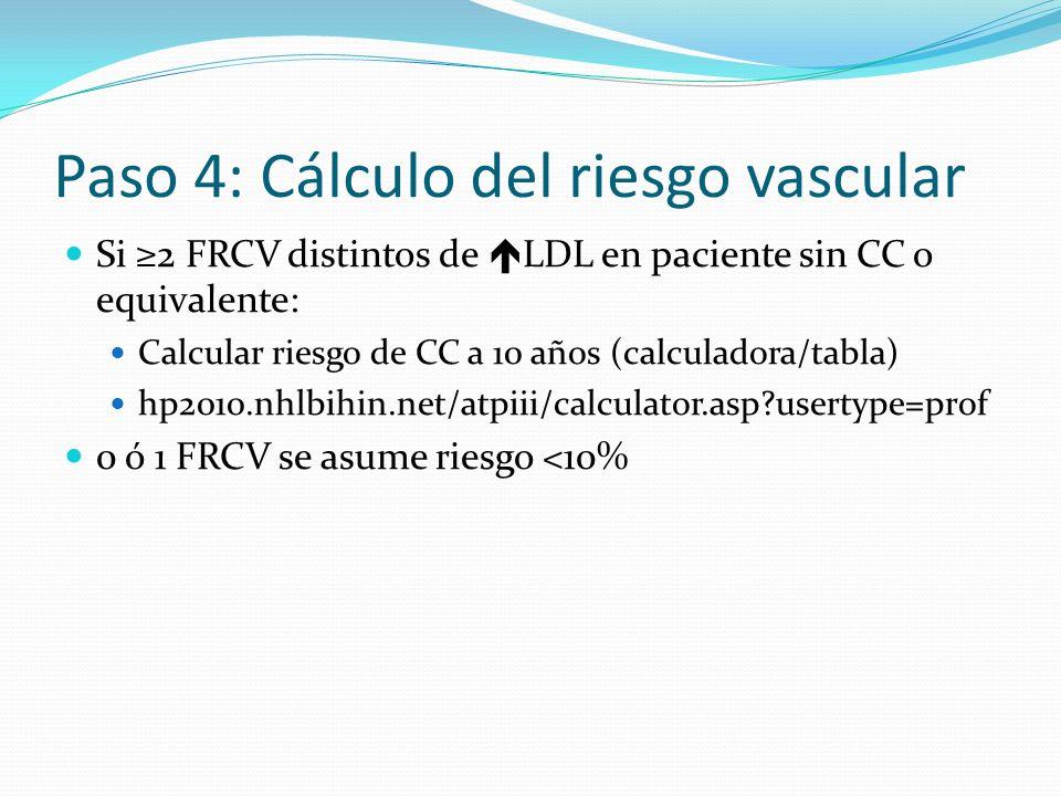 Paso 4: Cálculo del riesgo vascular