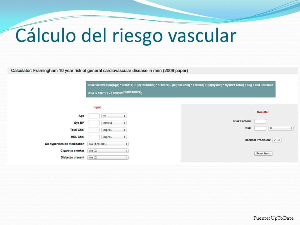 Cálculo del riesgo vascular