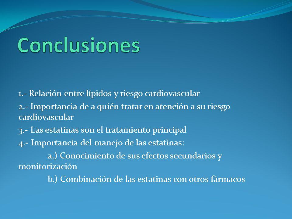 Conclusiones 1.- Relación entre lípidos y riesgo cardiovascular