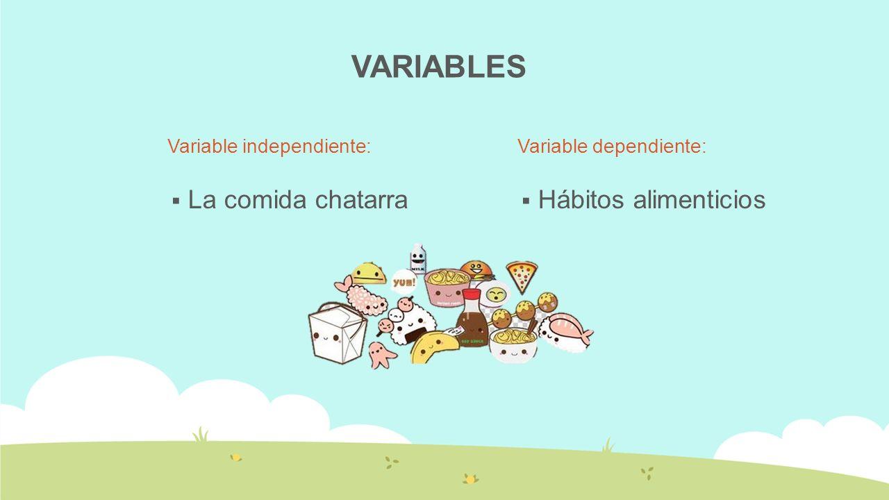 VARIABLES La comida chatarra Hábitos alimenticios