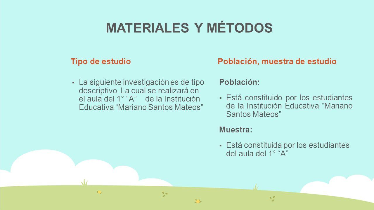 MATERIALES Y MÉTODOS Tipo de estudio Población, muestra de estudio