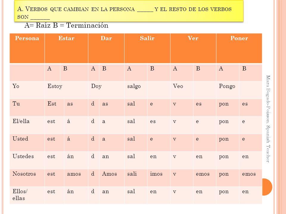 A. Verbos que cambian en la persona _____ y el resto de los verbos son ______