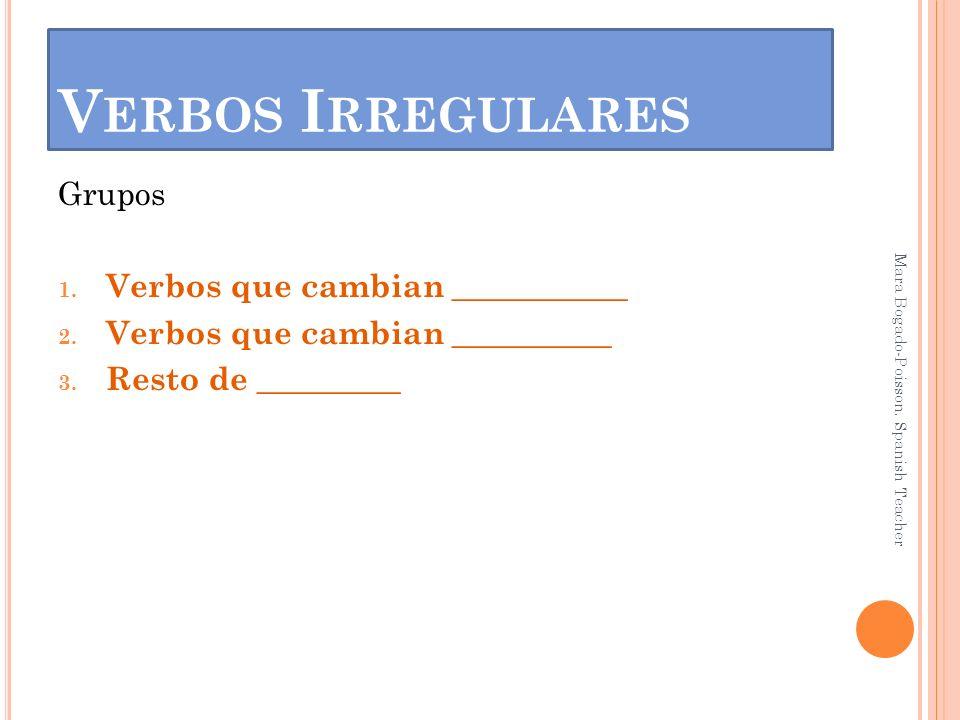 Verbos Irregulares Grupos Verbos que cambian ___________