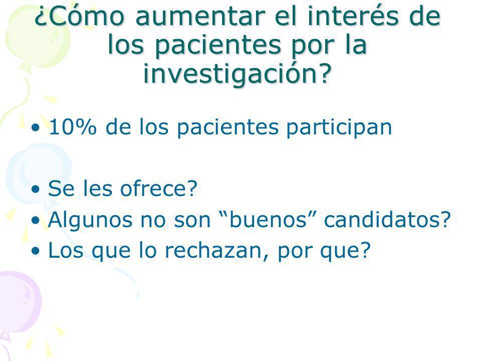 ¿Cómo aumentar el interés de los pacientes por la investigación