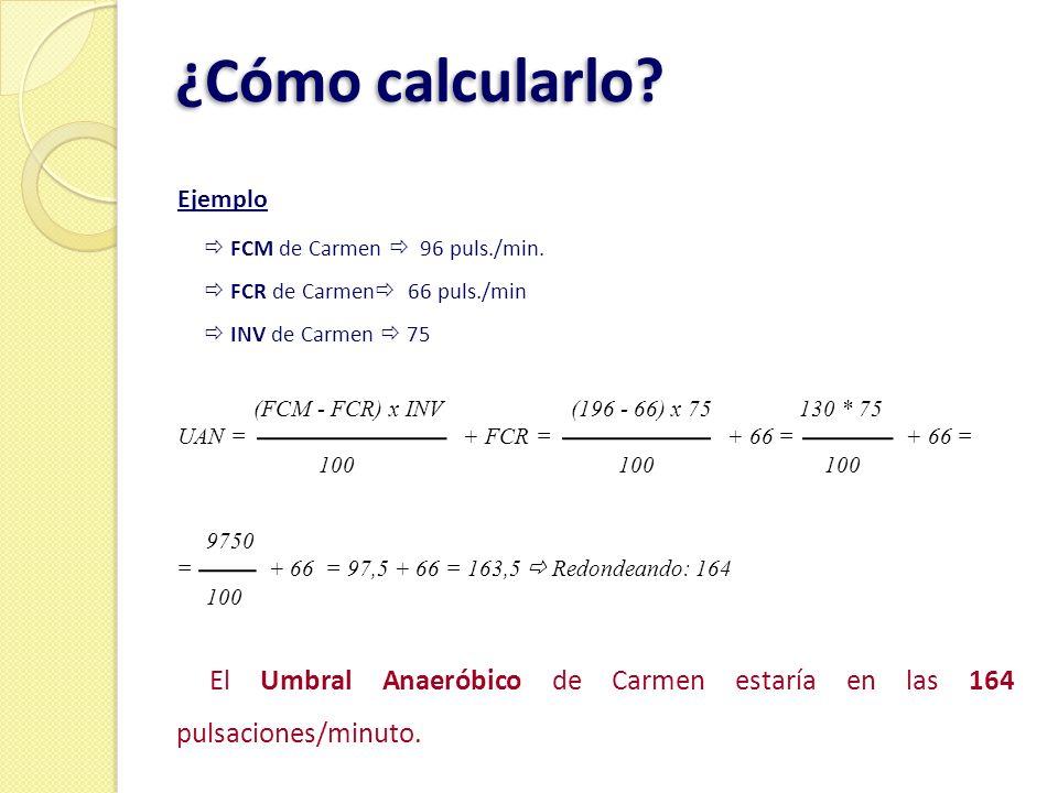 ¿Cómo calcularlo Ejemplo.  FCM de Carmen  96 puls./min.  FCR de Carmen 66 puls./min.  INV de Carmen  75.