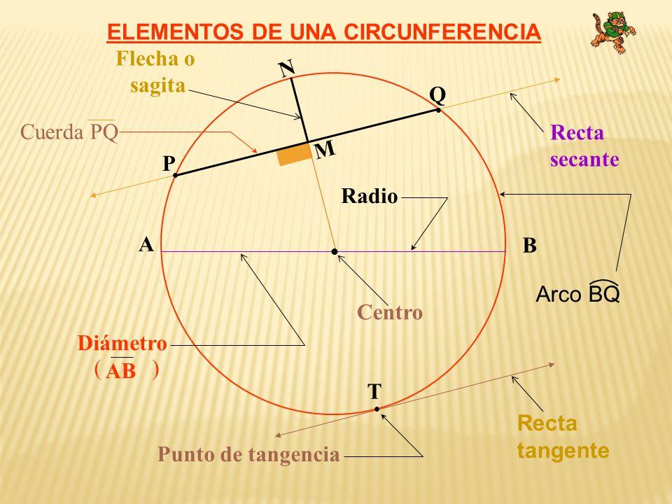 ELEMENTOS DE UNA CIRCUNFERENCIA Flecha o sagita