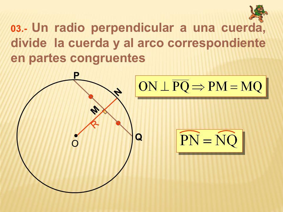 03.- Un radio perpendicular a una cuerda, divide la cuerda y al arco correspondiente en partes congruentes