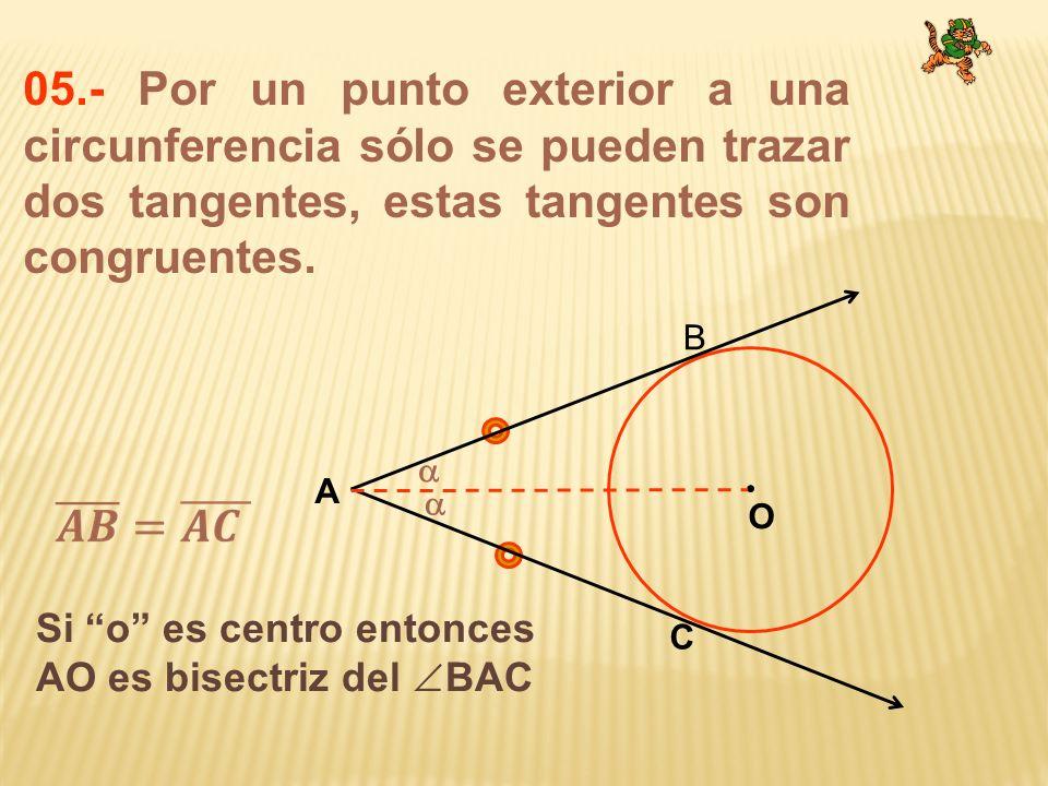 05.- Por un punto exterior a una circunferencia sólo se pueden trazar dos tangentes, estas tangentes son congruentes.