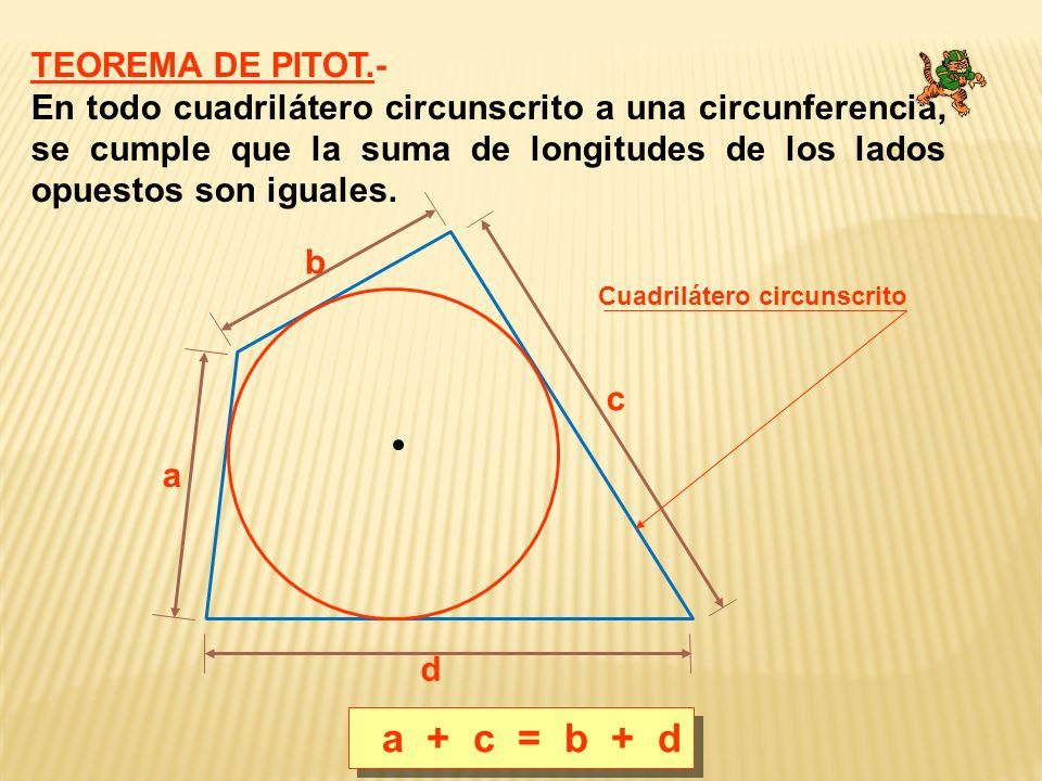 a + c = b + d TEOREMA DE PITOT.-