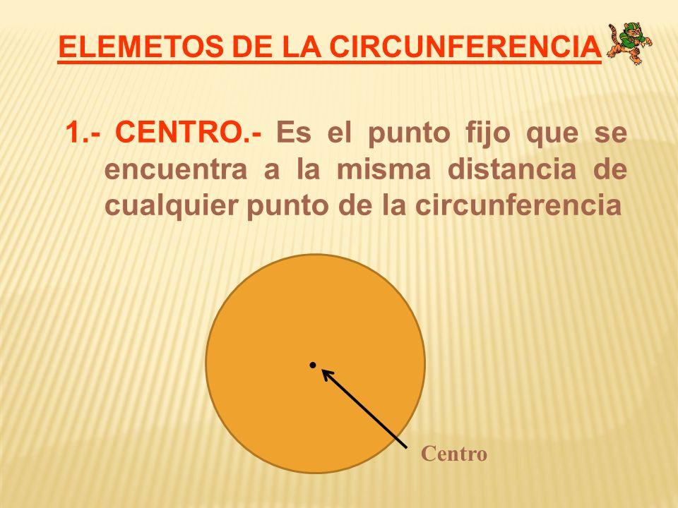 ELEMETOS DE LA CIRCUNFERENCIA