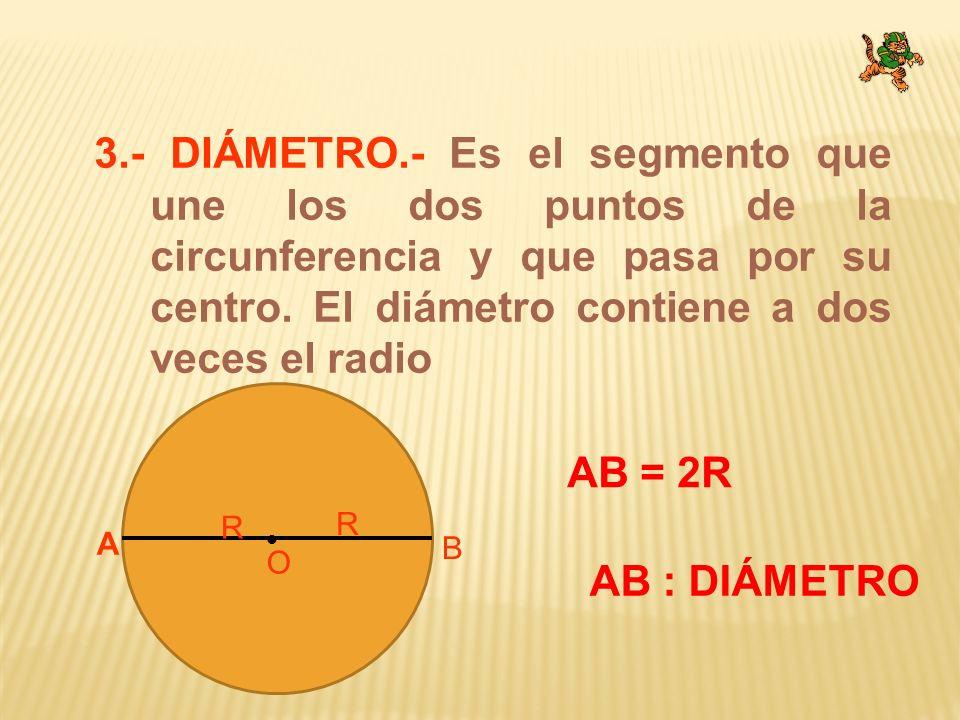 3.- DIÁMETRO.- Es el segmento que une los dos puntos de la circunferencia y que pasa por su centro. El diámetro contiene a dos veces el radio