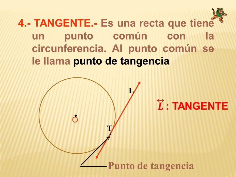 4.- TANGENTE.- Es una recta que tiene un punto común con la circunferencia. Al punto común se le llama punto de tangencia