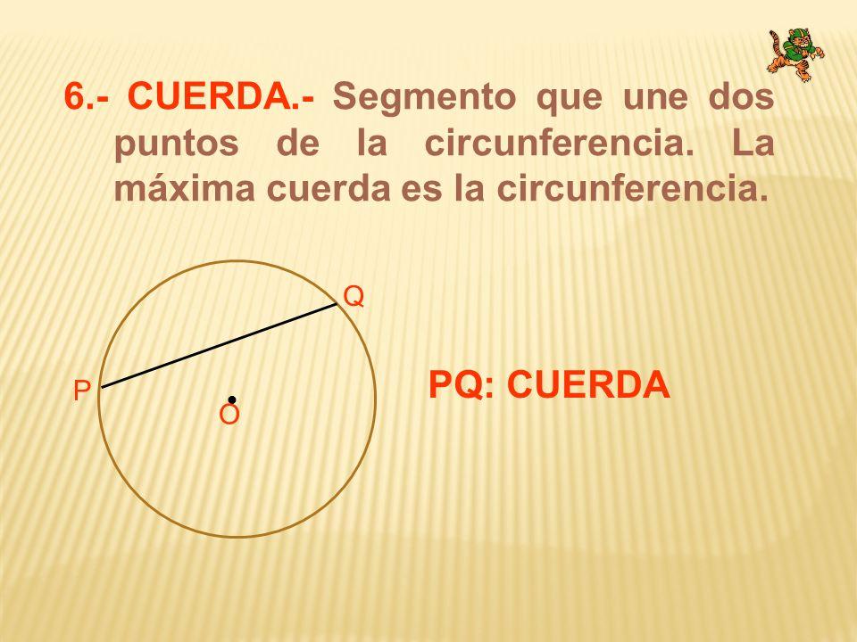 6. - CUERDA. - Segmento que une dos puntos de la circunferencia