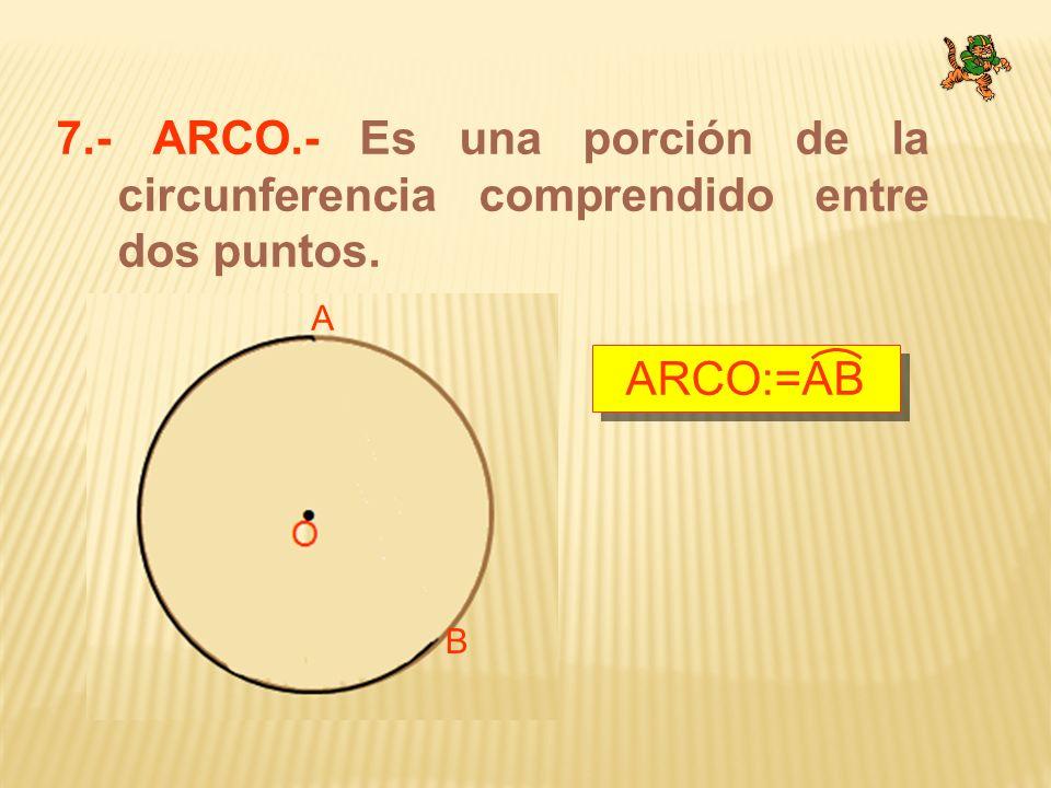 7.- ARCO.- Es una porción de la circunferencia comprendido entre dos puntos.