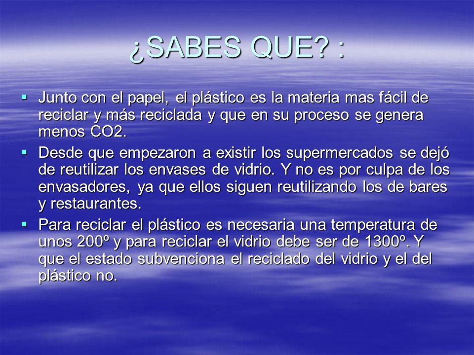 ¿SABES QUE : Junto con el papel, el plástico es la materia mas fácil de reciclar y más reciclada y que en su proceso se genera menos CO2.