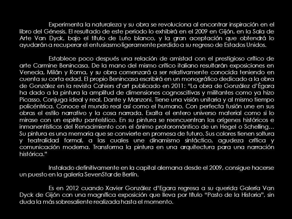 Experimenta la naturaleza y su obra se revoluciona al encontrar inspiración en el libro del Génesis. El resultado de este periodo lo exhibirá en el 2009 en Gijón, en la Sala de Arte Van Dyck, bajo el título de Luto blanco, y la gran aceptación que obtendrá lo ayudarán a recuperar el entusiasmo ligeramente perdido a su regreso de Estados Unidos.