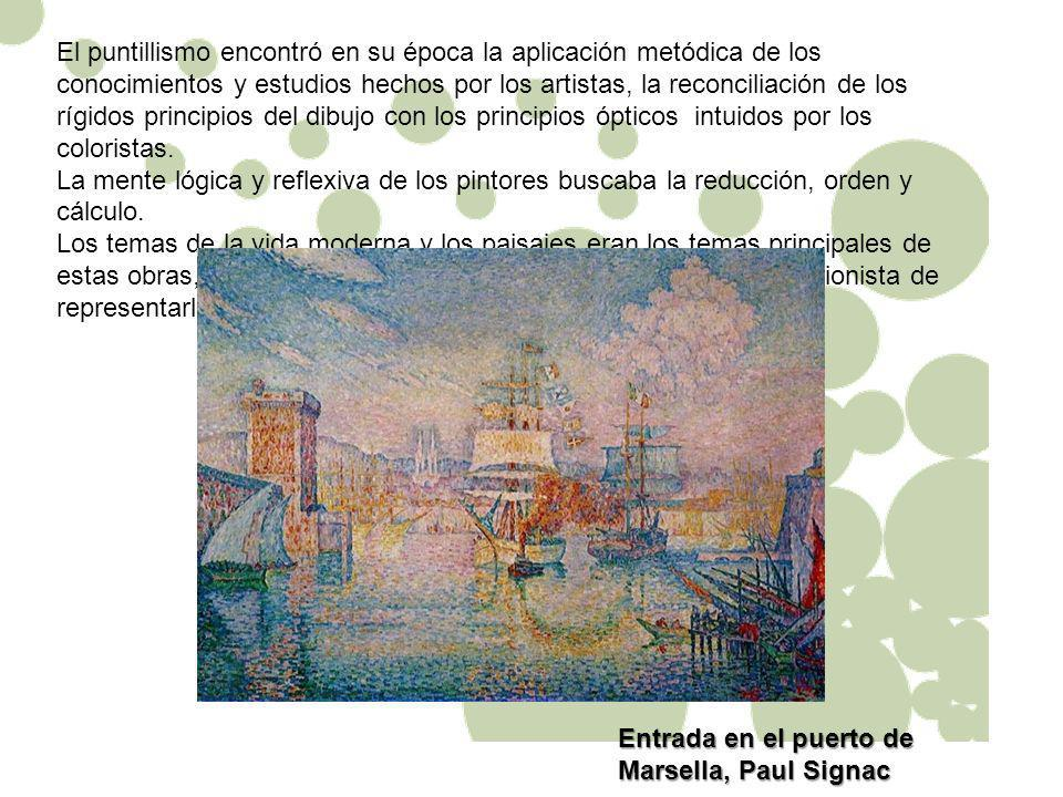 El puntillismo encontró en su época la aplicación metódica de los conocimientos y estudios hechos por los artistas, la reconciliación de los rígidos principios del dibujo con los principios ópticos intuidos por los coloristas.