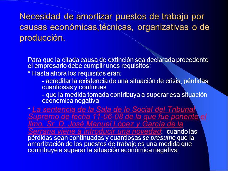 Necesidad de amortizar puestos de trabajo por causas económicas,técnicas, organizativas o de producción.