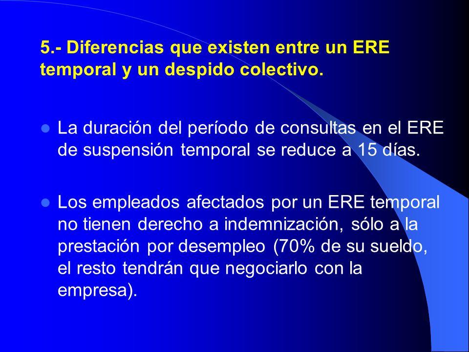 5.- Diferencias que existen entre un ERE temporal y un despido colectivo.