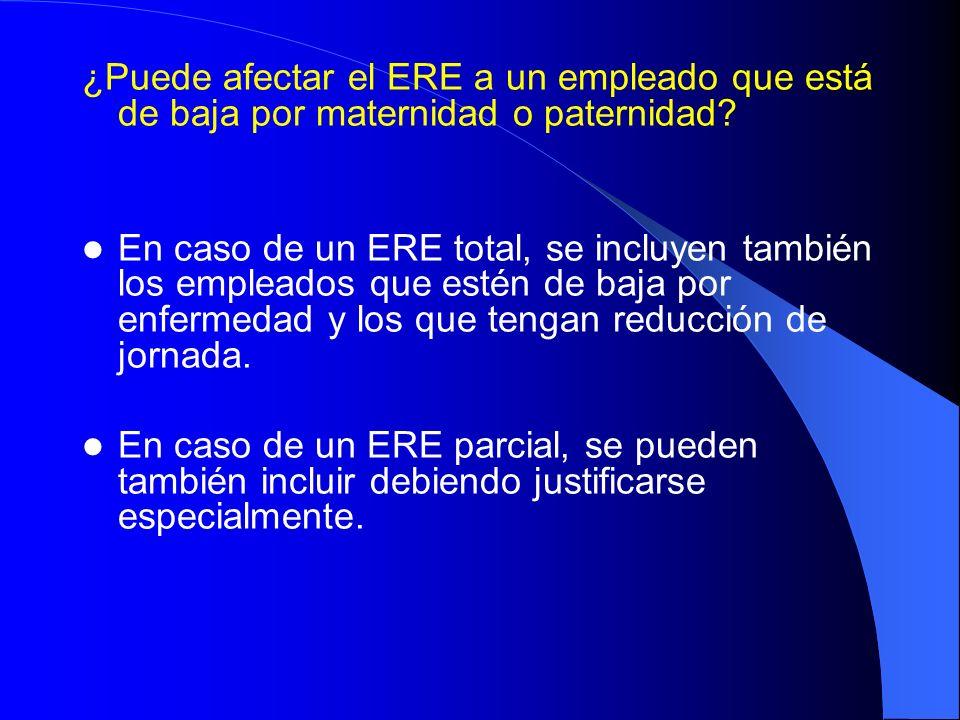 ¿Puede afectar el ERE a un empleado que está de baja por maternidad o paternidad