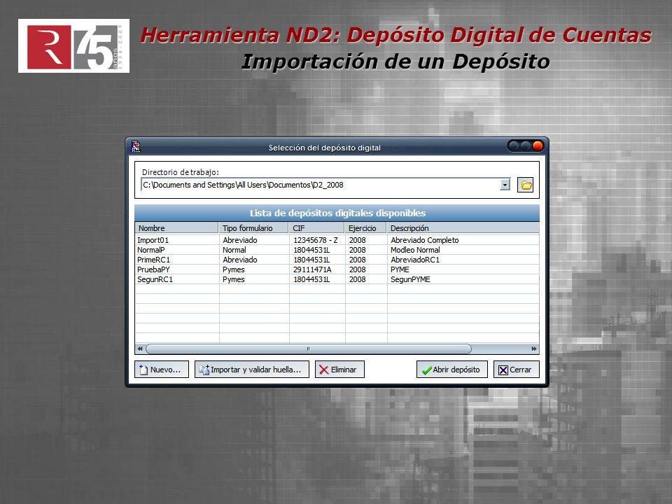 Herramienta ND2: Depósito Digital de Cuentas