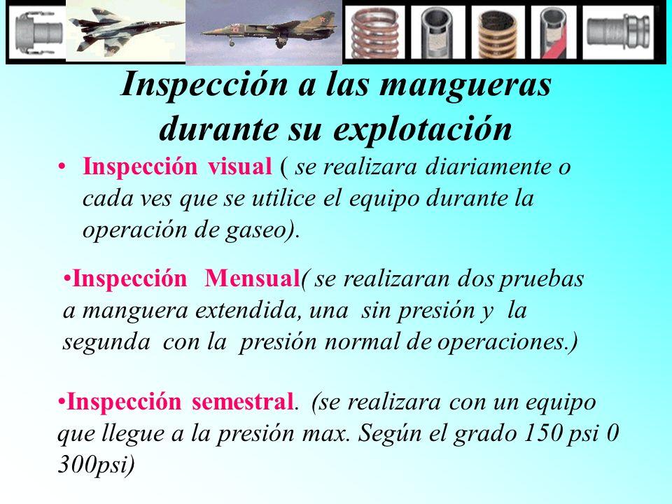 Inspección a las mangueras durante su explotación