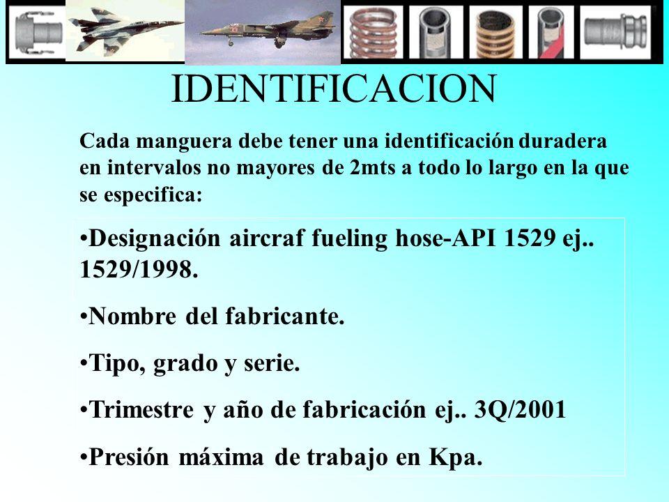 IDENTIFICACION Cada manguera debe tener una identificación duradera en intervalos no mayores de 2mts a todo lo largo en la que se especifica: