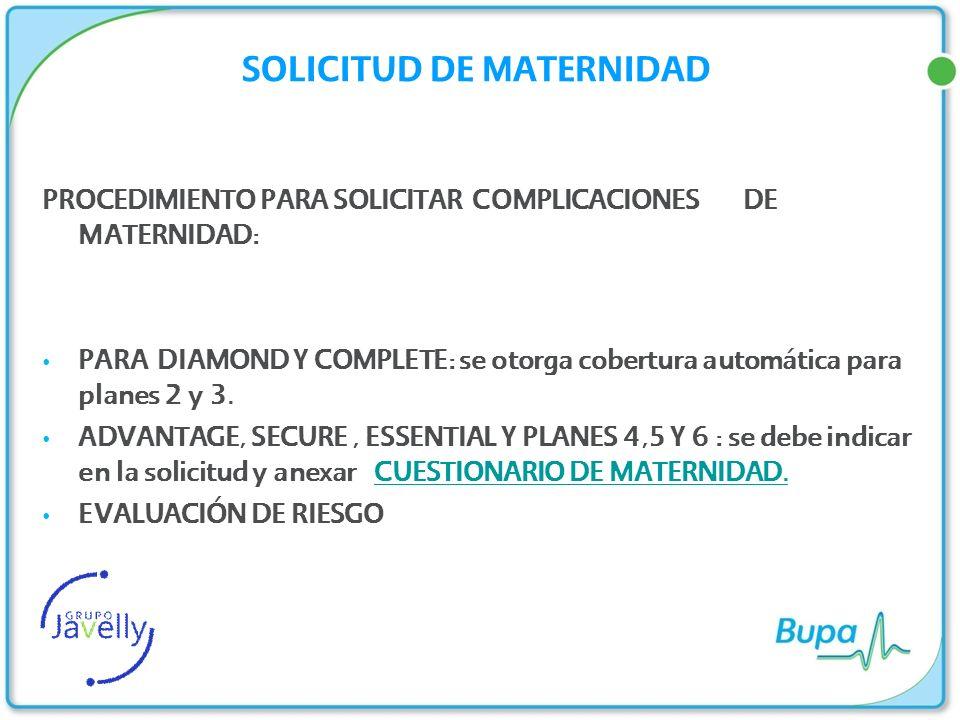 SOLICITUD DE MATERNIDAD