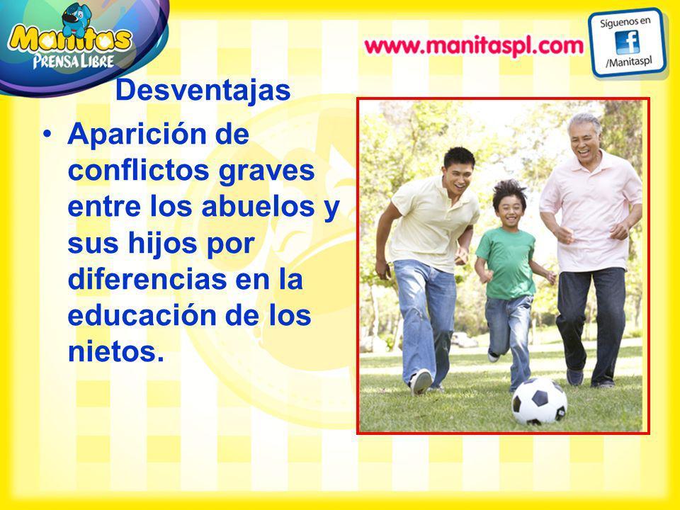 DesventajasAparición de conflictos graves entre los abuelos y sus hijos por diferencias en la educación de los nietos.