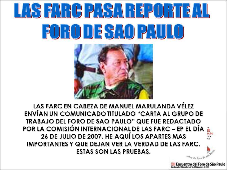LAS FARC PASA REPORTE AL
