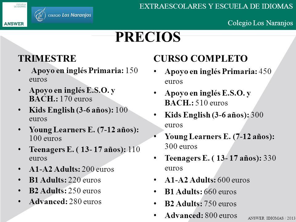 PRECIOS TRIMESTRE CURSO COMPLETO Apoyo en inglés Primaria: 150 euros