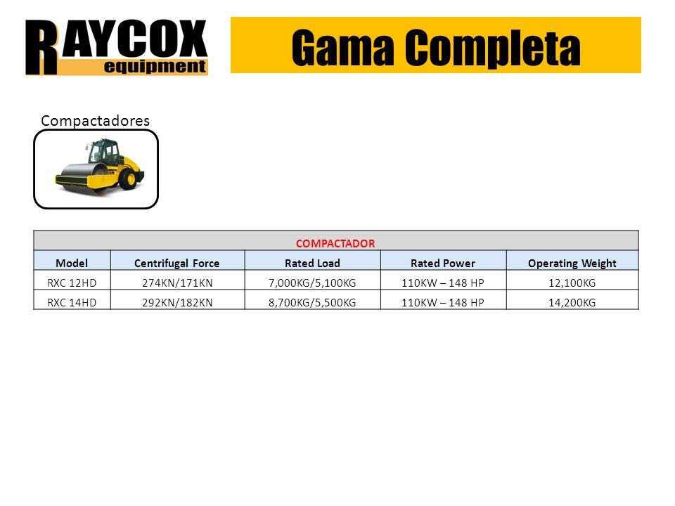 Gama Completa Compactadores COMPACTADOR Model Centrifugal Force