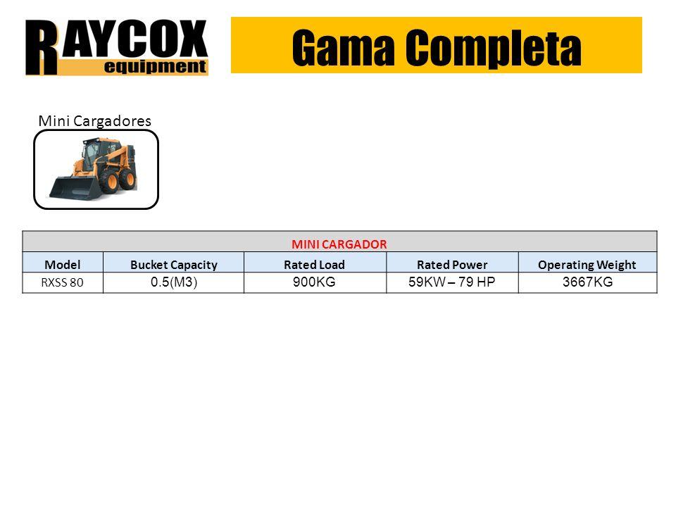 Gama Completa Mini Cargadores MINI CARGADOR Model Bucket Capacity