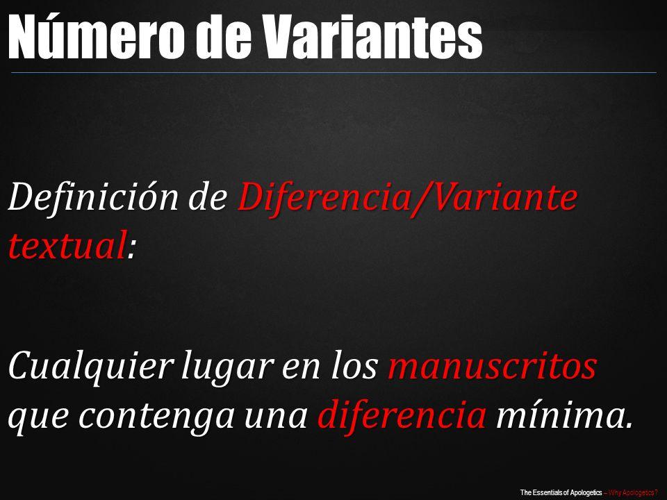 Número de Variantes Definición de Diferencia/Variante textual: