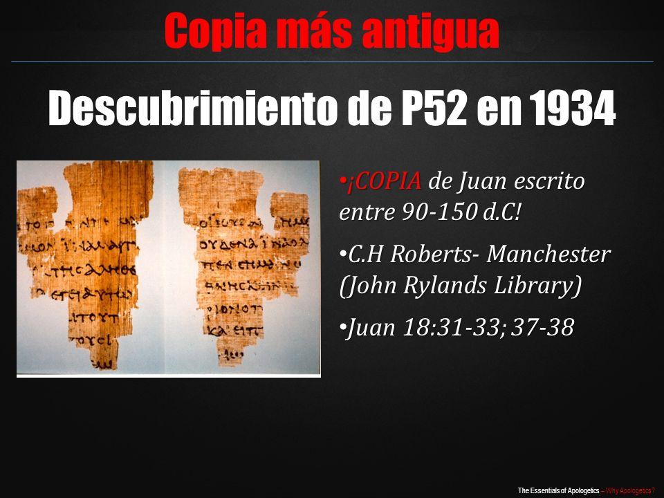 Copia más antigua Descubrimiento de P52 en 1934